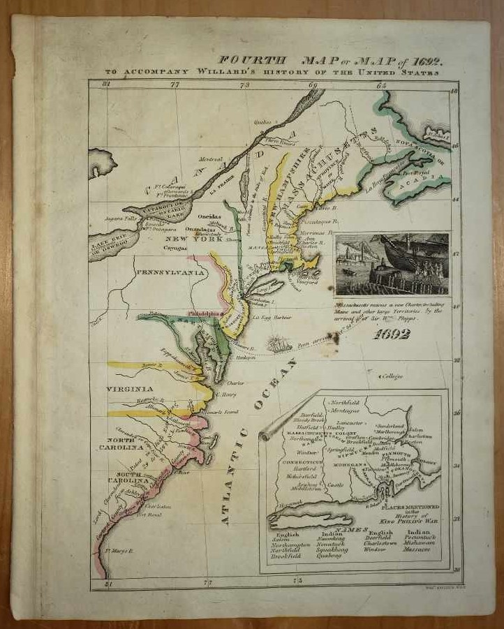"Image for Original Map - ""Fourth Map or Map of 1692.""  A Series of Maps to Willard's History of the United States, or, Republic of America."